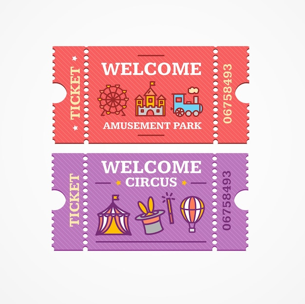 Circus and amusement park tickets flat design style icon set