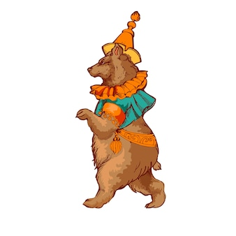 Цирковое животное медведь в одежде