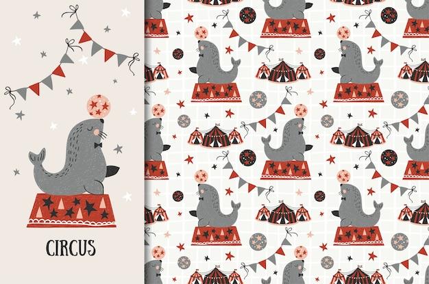 Circus animal, fur seal illustration and seamless pattern