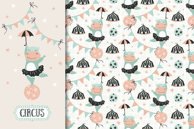 Circus animal. hippo girl with umbrella illustration and seamless pattern