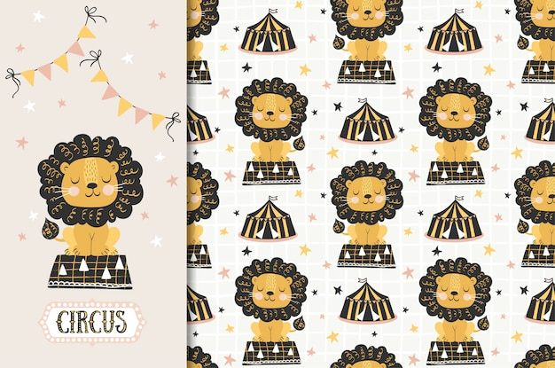 Circus animal, lion illustration and seamless pattern