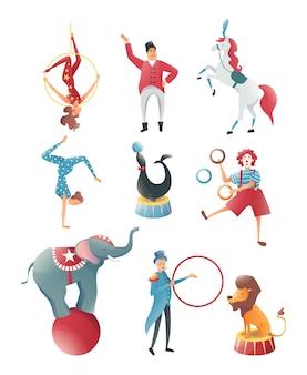 サーカスの動物、アクロバティックな動物のトリック、家族の曲芸師のサーカスパフォーマンス