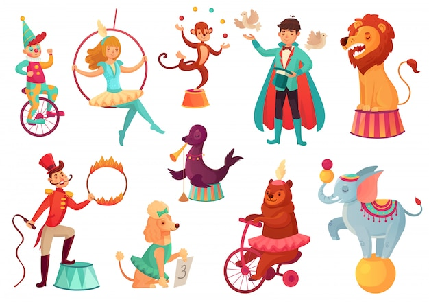 Circus animals. animal acrobatic tricks, circus family acrobat entertainment. cartoon  isolated illustration