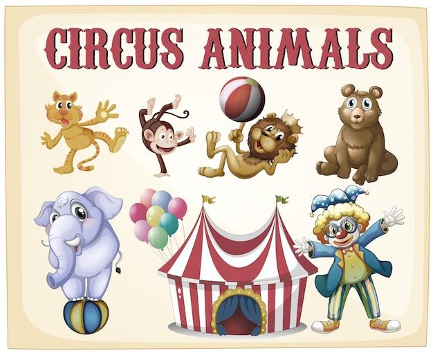 Цирковые животные на старинном ретро-плакате