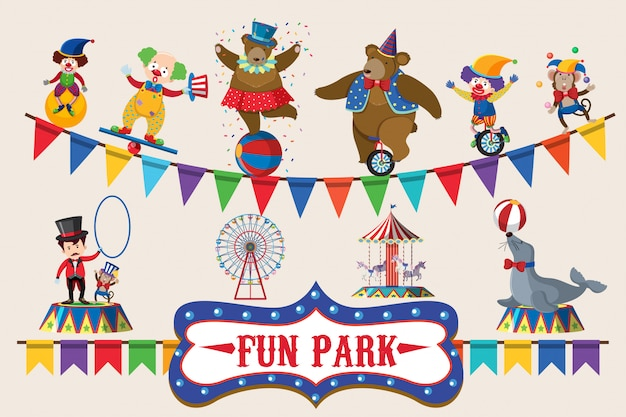 Circus animals on poster design
