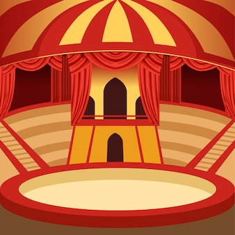 Circus arena cartoon . classic stage with yellow and red striped dome, sits and curtains. background for poster or invitation.
