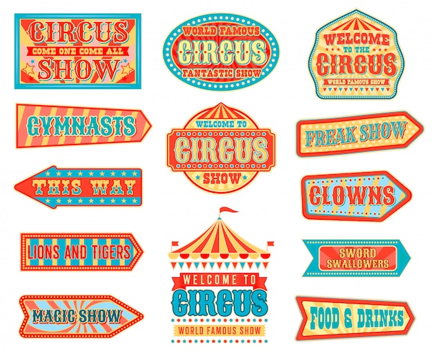 Circus arrow pointers with carnival top tents