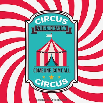 Circus badge on a stripes background