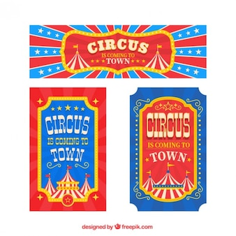 Circus banner and flyers in vintage style
