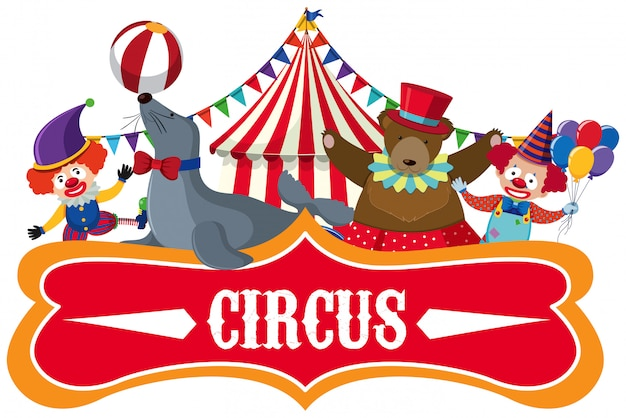 Circus banner on white background