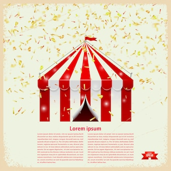 Circus big top with gold confetti on a retro background with text template. vector illustration