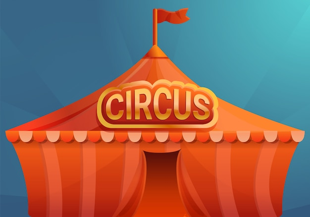 Circus on blue background concept banner, cartoon style