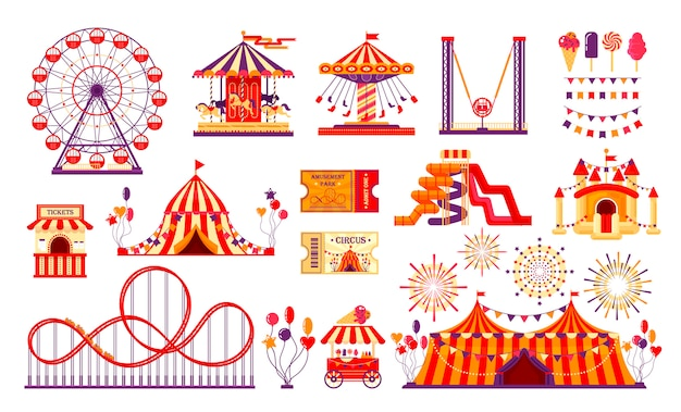 サーカスのカーニバルの要素は、白い背景で隔離を設定します。楽しいフェア、カルーセル、観覧車、テント、ジェットコースター、風船、チケットを備えた遊園地のコレクション。