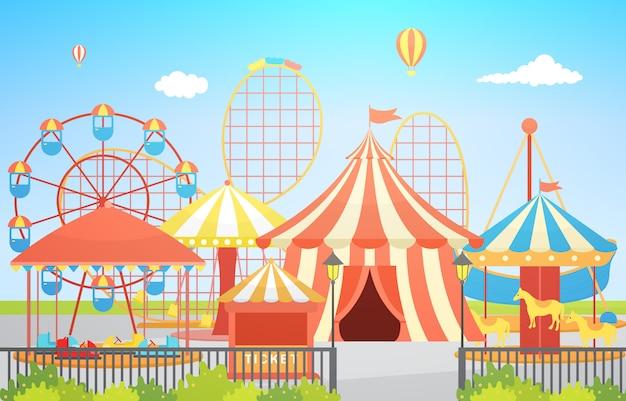 Circus carnival festival fun fair with firework landscape