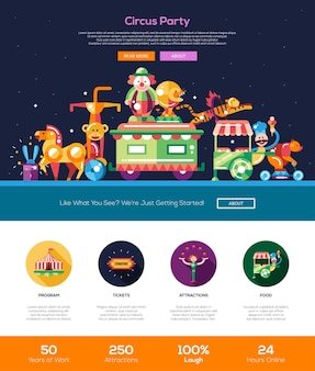 Circus and carnival party website template
