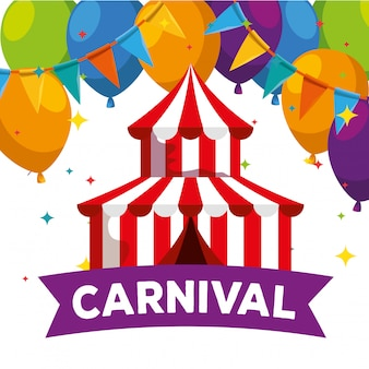 Circus carnival with balloons and party banner decoration to festival