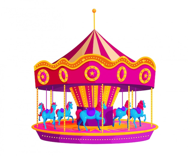 Circus carousel with horses flat vector illustration