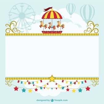 Circus carrousel, air balloons and big wheel
