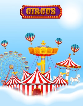 Circus in the clouds and sky with tent and rides