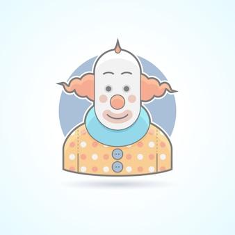 Цирковой клоун, шутник, значок шутника. аватар и иллюстрация человека. цветной очерченный стиль.