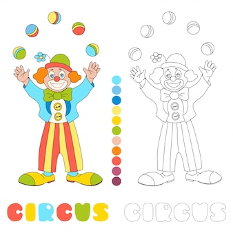 Circus  clown juggler coloring book page