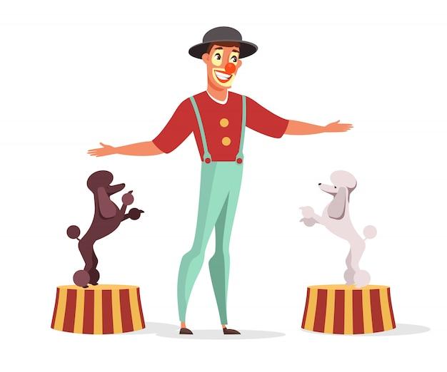 Цирковой клоун с плоской иллюстрацией выступления собак, изолированной на белом