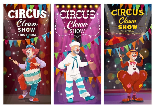 Circus clowns comedy show  banners. clowns with face makeup, wearing sailor suit and tramp costume, dancing and playing on drum, performing on lighted stage or circus arena cartoon characters