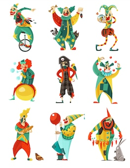Circus clowns icons set