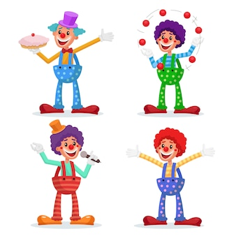 Circus clowns set.