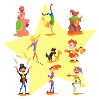 Circus collection with carnival, fun fair,