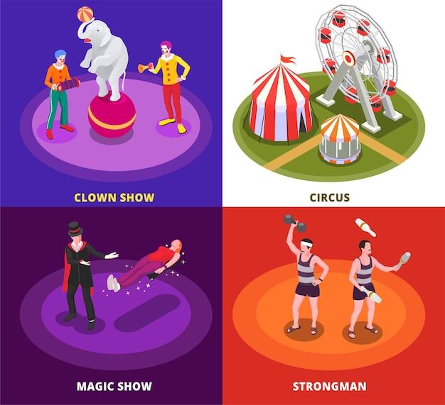 Insieme isometrico di concetto di circo con spettacolo di magia isolato