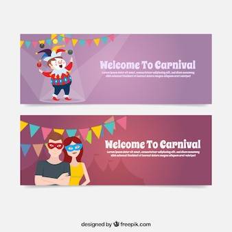 Circus and couple banners with masks