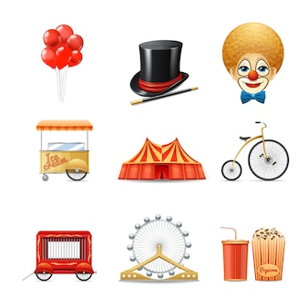 Circus decorative icons set with realistic clown marquee tent bike isolated