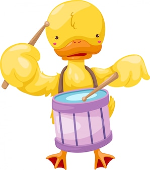 Circus duck play drum