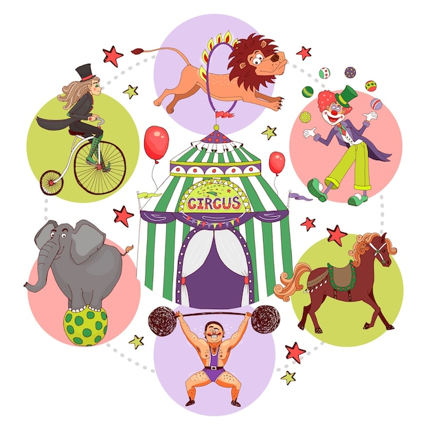 Composizione di elementi del circo in stile piatto