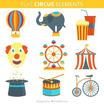 Circus elements set in flat style