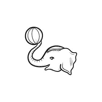 서커스 코끼리 손으로 그린 개요 낙서 아이콘. 인쇄, 웹, 모바일 및 흰색 배경에 고립 된 infographics 공 벡터 스케치 그림을 가지고 노는 코끼리.