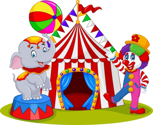 Circus elephant with a striped ball stands