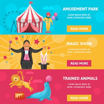 Circus entertainment banners set