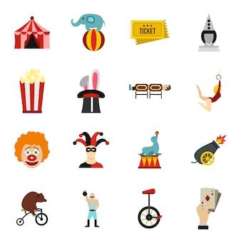 Circus entertainment icons set