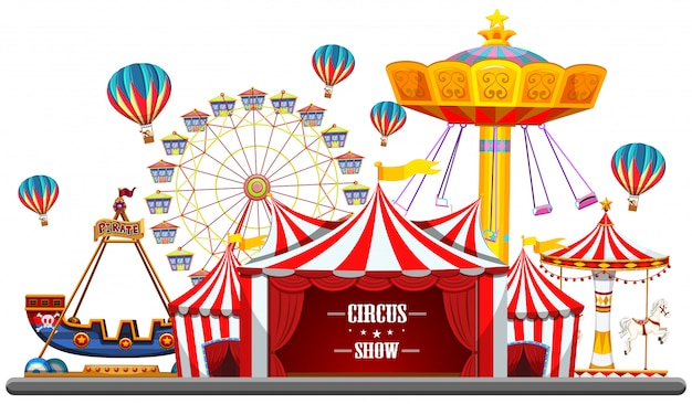 Circus event with tents, ferris wheel, rides games, ticket booth pirate ship isolated