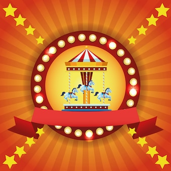 Circus fair festival colorful emblem