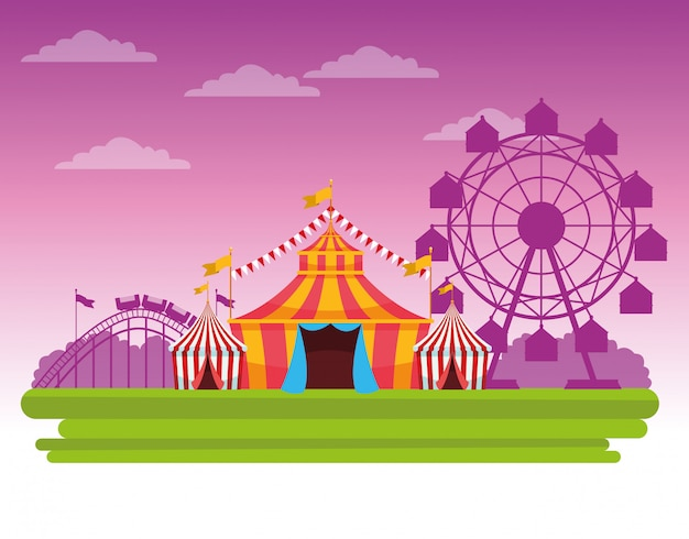 Circus fair festival scenery cartoon