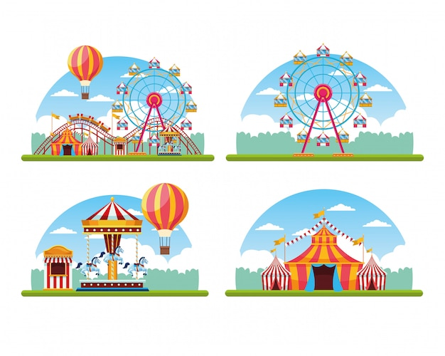Circus festival fair set of scenery