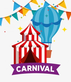 Circus festival with air balloon and party banner decoration