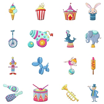 Circus fun show icons set