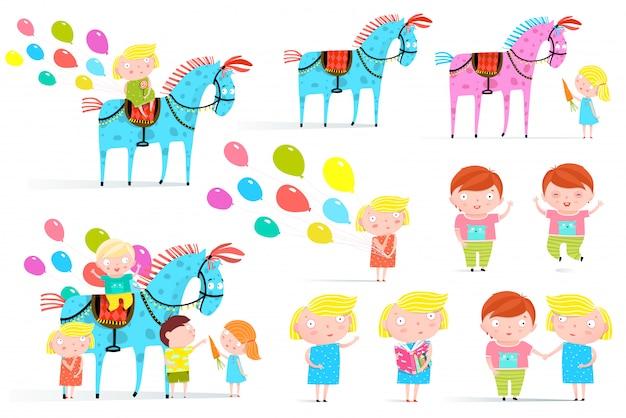 サーカスの馬と子供たちのクリップアートコレクション