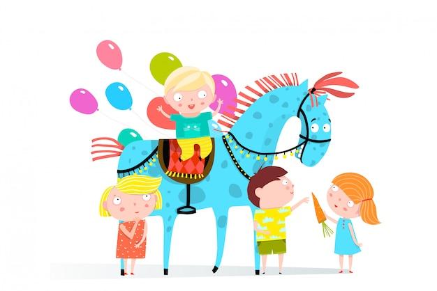 서커스 말과 아이들 휴가