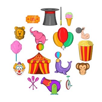 Circus icon set, cartoon style