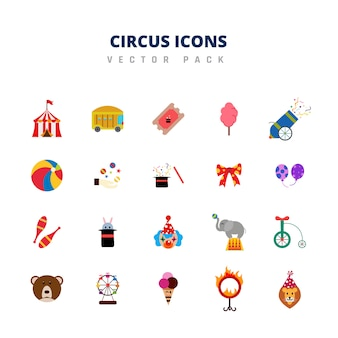 Circus icons vector pack